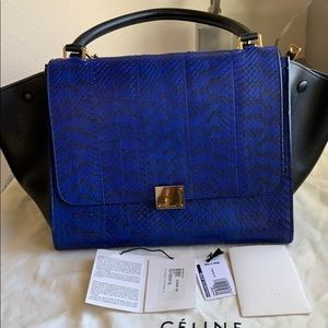 Celine Medium Trapeze  Python Leather Handbag